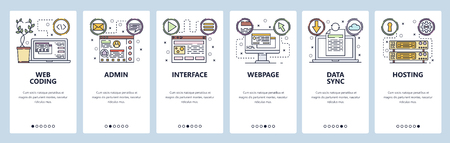 Mobile app onboarding screens. Coding, software development, data sync and cloud technology, hosting. Menu vector banner template for website and mobile development. Web site design flat illustration