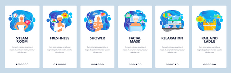 Mobile app onboarding screens. Steam sauna, shower, facial mask, relax and zen. Menu vector banner template for website and mobile development. Web site design flat illustration