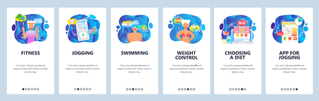 Mobile app onboarding screens. Fitness, music for jogging, diet and weight control, healthy lifestyle. Menu vector banner template for website and mobile development. Web site design flat illustration