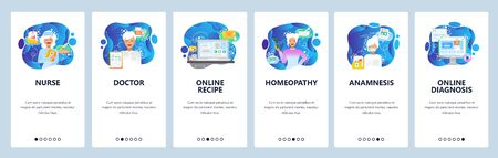 Mobile app onboarding screens. Health icons, nurse, doctor, homeopathy and online medical consulting. Vector banner template for website and mobile development. Web site design flat illustration