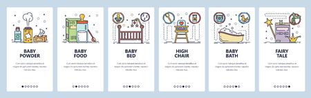 Écrans d'intégration des applications mobiles. Chambre bébé nouveau-né, lait maternisé, lit bébé et baignoire. Modèle de bannière vectorielle de menu pour le développement de sites Web et mobiles. Illustration plate de conception de site Web