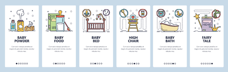 Mobile app onboarding screens. New born baby room, milk formula, baby bed and bath. Menu vector banner template for website and mobile development. Web site design flat illustration