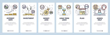 Mobile app onboarding screens. Interest rate, money investment, bank loan. Menu vector banner template for website and mobile development. Web site design flat illustration Ilustração