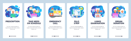 Mobile app onboarding screens. Prescription drugs, organ donation, emergency call, first aid. Menu vector banner template for website and mobile development. Web site design flat illustration