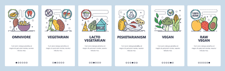 Mobile app onboarding screens. Food diet, vegan, vegetarian, pescatarian. Menu vector banner template for website and mobile development. Web site design flat illustration