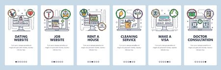Mobile app onboarding screens. Online internet services, rent a house, online doctor, dating website and job search. Vector banner template for website and mobile development. Web flat illustration  イラスト・ベクター素材