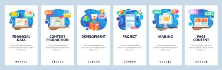 Mobile app onboarding screens. Financial data, content production, education and reading book, email. Menu vector banner template for website and mobile development. Web site design flat illustration