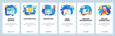 Mobile app onboarding screens. Digital marketing, information search, copywriting, page speed. Menu vector banner template for website and mobile development. Web site design flat illustration