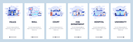 Mobile app onboarding screens. City buildings infrastructure, police, hospital, university, shopping mall. Vector banner template for website and mobile development. Web site design flat illustration