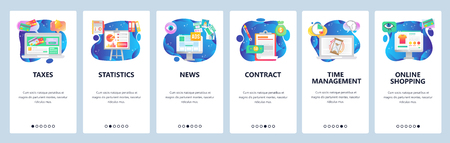 Mobile app onboarding screens. Financial chart, online payment, sign contract, time management. Menu vector banner template for website and mobile development. Web site design flat illustration Ilustração