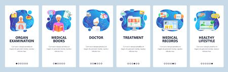 Onboarding for web site and mobile app. Menu banner vector template for website and application development. Organ examination, Medical books and records, Doctor, Treatment, Healthy lifestyle screens.