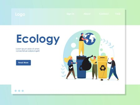 Ecology vector website landing page design template
