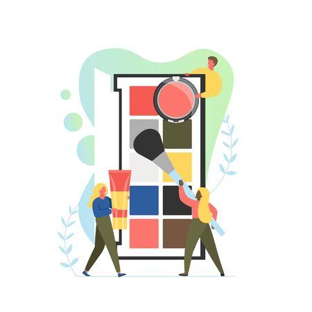 Visagiste services, vector flat style design illustration  イラスト・ベクター素材
