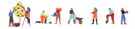 Gardeners working in garden, vector flat isolated illustration Illustration