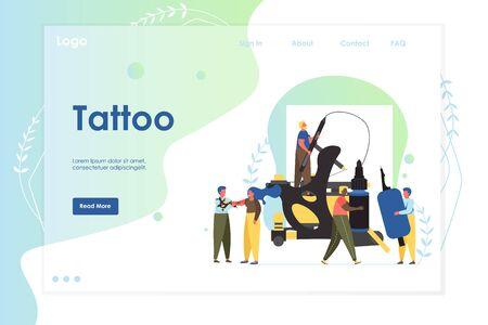 Tattoo vector website landing page design template