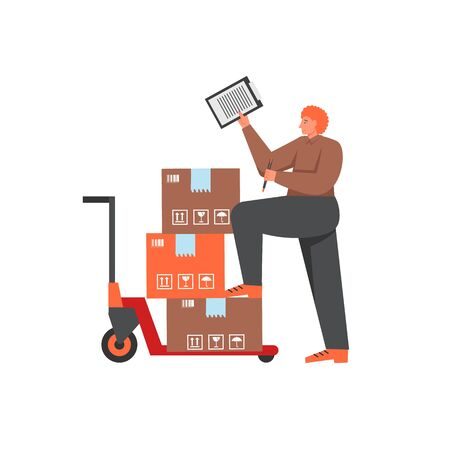 Delivery stock, vector flat style isolated illustration