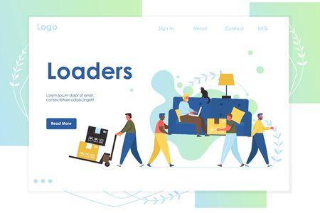 Loaders vector website landing page design template