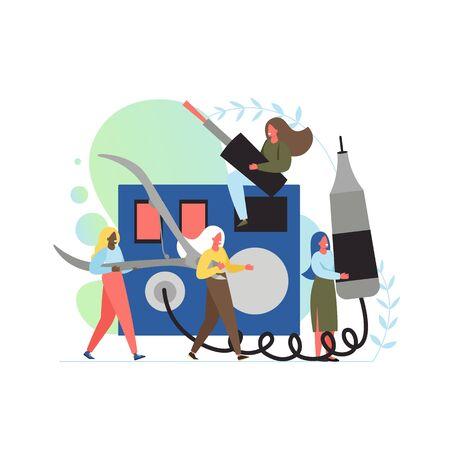 Manicure services, vector flat style design illustration