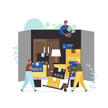 Services de l'entreprise de déménagement, illustration vectorielle de conception de style plat