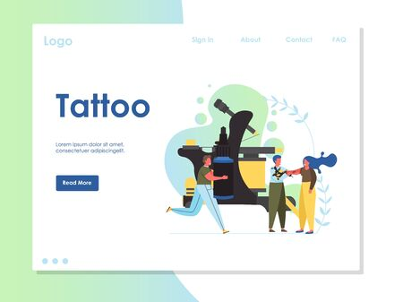 Tattoo vector website landing page design template