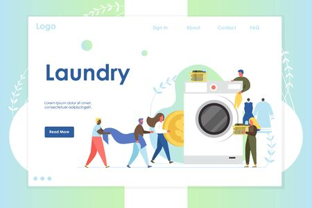 Laundry vector website landing page design template
