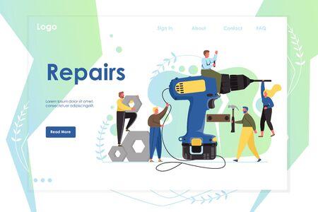 Repairs vector website landing page design template