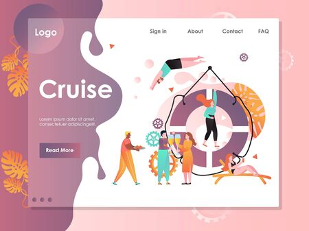 Cruise vector website landing page design template