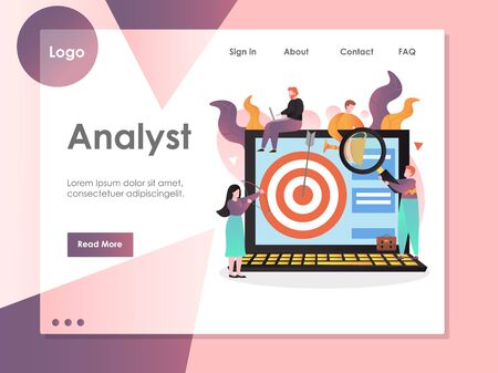 Analyst vector website landing page design template