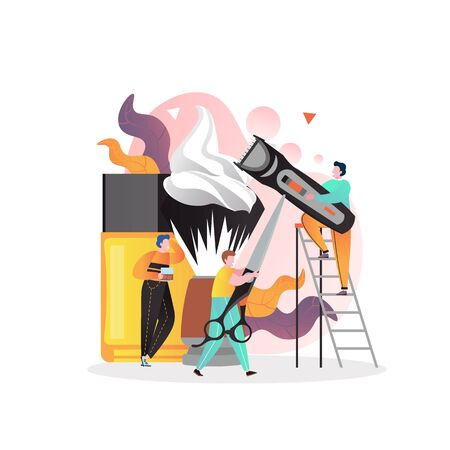 Barbershop vector concept for web banner, website page