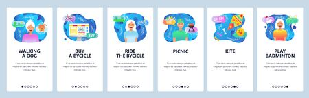 Mobile app onboarding screens. Weekend outdoor activities, leisure time, walking dog in a park, ride bycicle. Vector banner template for website and mobile development. Web site flat illustration Иллюстрация