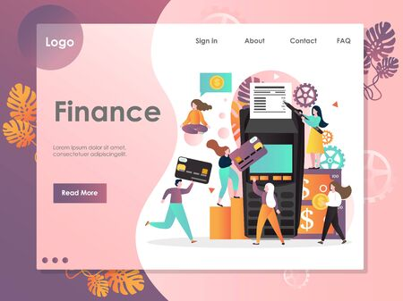 Finance vector website landing page design template Иллюстрация