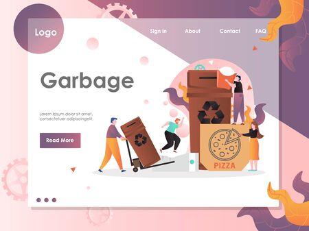 Garbage vector website landing page design template