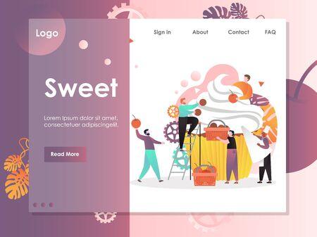 Sweet vector website landing page design template