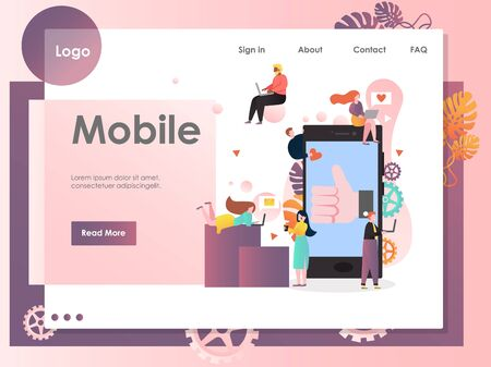 Mobile vector website landing page design template