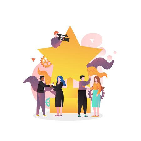 Movie award ceremony vector illustration. Huge gold star, film festival trophy and tiny characters with camcorder, microphone. Cinema industry, film award show concept for web banner, website page etc