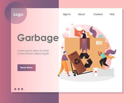 Garbage vector website landing page design template Vektorgrafik