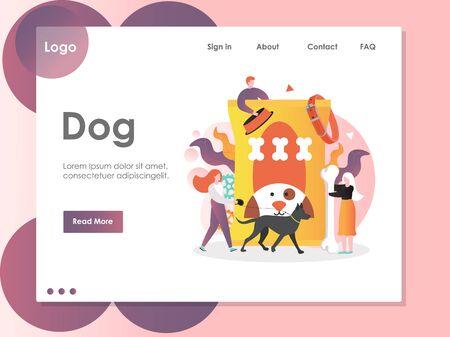 Dog vector website landing page design template