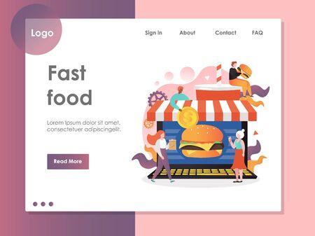 Fast food vector website landing page design template
