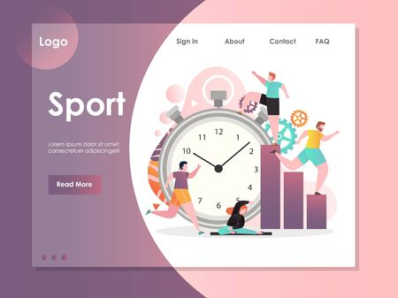 Sport vector website landing page design template