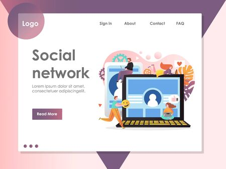 Social network vector website landing page design template