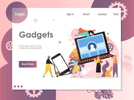 Gadgets vector website landing page design template Archivio Fotografico - 129173823