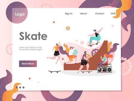 Skate vector website landing page design template Illusztráció