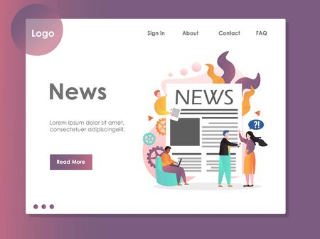 News vector website landing page design template