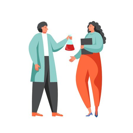 Man in lab coat giving chemistry flask to woman, vector flat illustration isolated on white background. Scientific research, science experiment concept for website page etc.