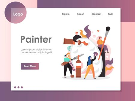 Painter vector website landing page design template Archivio Fotografico - 129173836