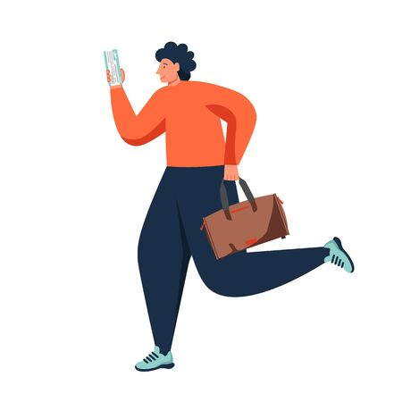 Man traveler running with bag and ticket in hands, vector flat isolated illustration. Travel, vacation, tourism, adventure concept for web banner, website page etc. 向量圖像