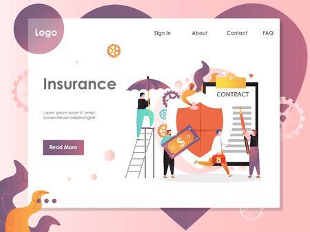 Insurance vector website landing page design template Illustration