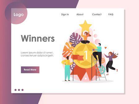 Winners vector website landing page design template 向量圖像