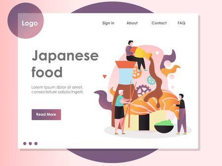 Japanese food vector website landing page design template