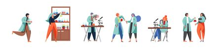 Science people, vector flat isolated illustration. Scientists or lab attendants working in science lab carrying out scientific experiment, doing medical research using laboratory equipment, glassware.